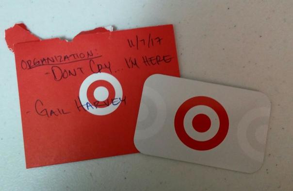 Target 7000 York Ave S Edina MN gift card $20.00 11-10-17
