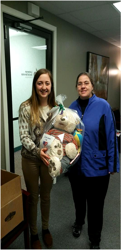 Delivery to Lutheran Social Service-St. Cloud MN --1 Boy Buddy Bear Tote Bag-2....3-15-18d